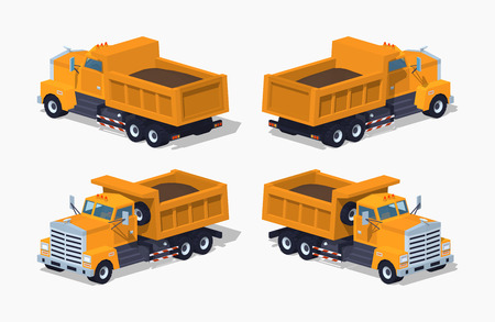 dumper: Loaded orange dumper. 3D lowpoly isometric vector illustration.