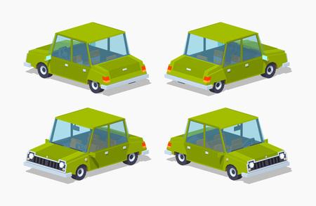 sedan: Old green sedan. 3D lowpoly isometric vector illustration Illustration