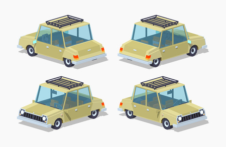 sedan: Old beige sedan. 3D lowpoly isometric vector illustration.