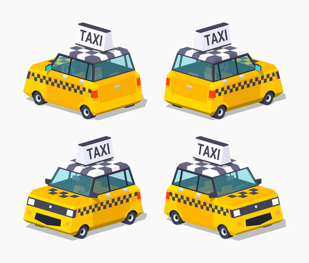 hatchback: Yellow taxi hatchback. 3D lowpoly isometric vector illustration. Illustration