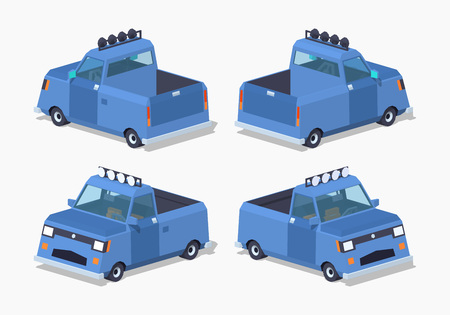 low tire: Blue pickup truck. 3D lowpoly isometric vector illustration. Illustration