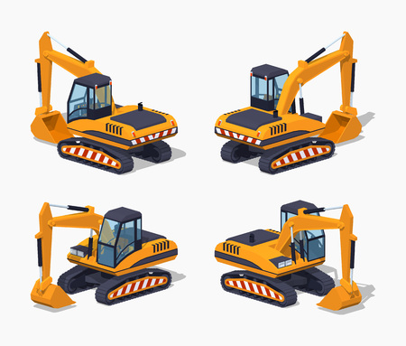 Yellow excavator. Special machinery. 3D lowpoly isometric vector illustration. Illustration