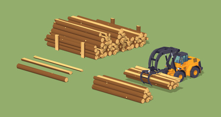 log on: Log loader and the log piles. 3D lowpoly isometric vector concept illustration