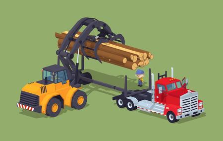 logging: Logs loading on truck. 3D lowpoly isometric vector concept illustration Illustration
