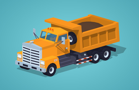 dumper: Loaded orange dumper against the blue background. 3D lowpoly isometric vector illustration Illustration