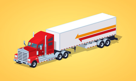 haul: Red heavy american truck with the trailer against the yellow background. 3D lowpoly isometric vector illustration