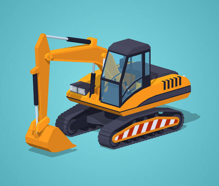 mine site: Yellow excavator against the blue background. 3D lowpoly isometric vector illustration