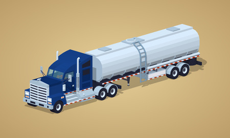 Dark-blue heavy truck with silver tank-trailer against the light-brown background. 3D lowpoly isometric vector illustration