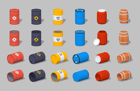 chemical hazard: Set of the metal, plastic and wooden barrels. 3D lowpoly isometric vector illustration. The set of objects isolated against the grey background and shown from different sides Illustration