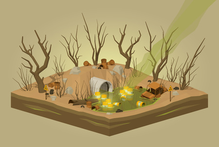 chemical hazard: Toxic waste dump. 3D lowpoly isometric vector concept illustration