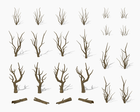 Dried dead trees. 3D lowpoly isometric vector illustration. The set of objects isolated against the white background and shown from different sides Vettoriali