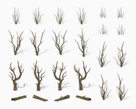 arboles secos: Secos los �rboles muertos. ilustraci�n vectorial isom�trica en 3D lowpoly. El conjunto de objetos aislados sobre el fondo blanco y muestra desde diferentes lados