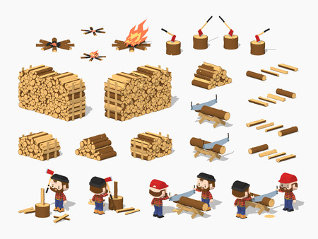worker cartoon: Firewood harvesting by lumberjacks. 3D lowpoly isometric vector illustration. The set of objects isolated against the white background and shown from different sides Vectores