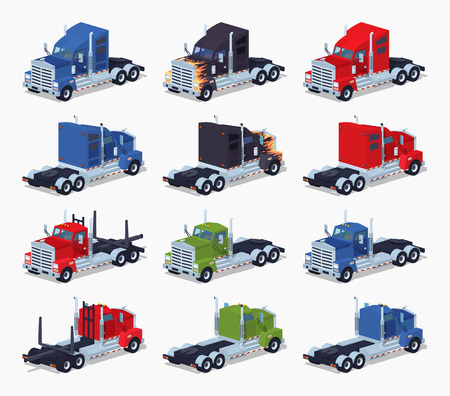 trucker: Collection of heavy trucks. 3D lowpoly isometric vector illustration. The set of objects isolated against the white background and shown from two sides