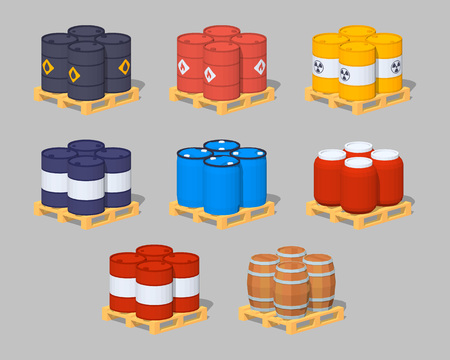 steel drum: Set of the metal, plastic and wooden barrels on the pallets. 3D lowpoly isometric vector illustration. The set of objects isolated against the grey background