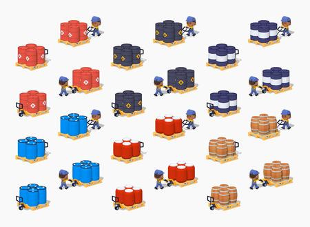 Conjunto de metal, plástico y barriles de madera en las transpaletas manuales. ilustración vectorial isométrica en 3D lowpoly. El conjunto de objetos aislados sobre el fondo blanco y la muestra a partir de dos lados Ilustración de vector