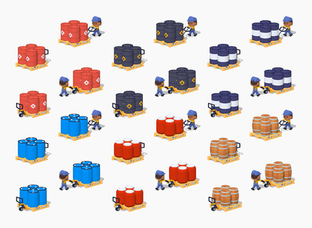 Set of the metal, plastic and wooden barrels on the manual pallet trucks. 3D lowpoly isometric vector illustration. The set of objects isolated against the white background and shown from two sides