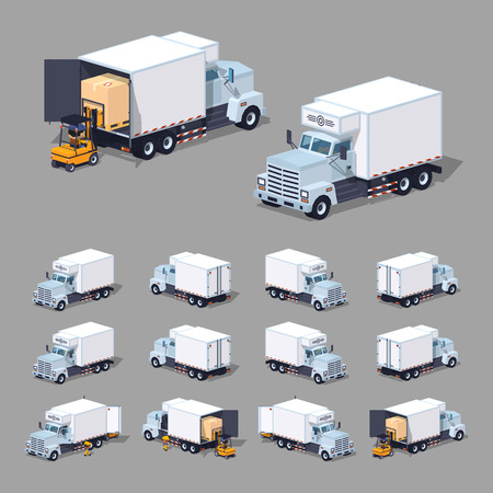cooler boxes: White truck refrigerator. 3D lowpoly isometric vector illustration. The set of objects isolated against the grey background and shown from different sides