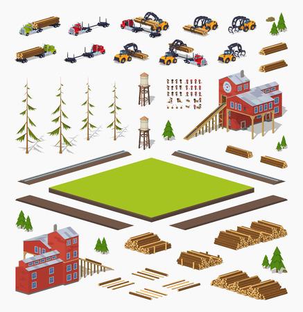 Lumber Mühlenbau gesetzt. Bauen Sie Ihr eigenes Design