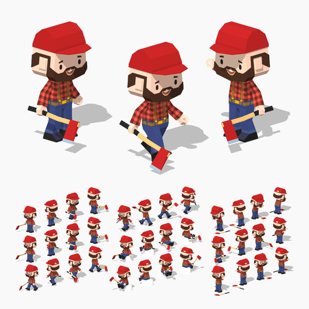 brown shirt: Low poly lumberjack with white skin, brown hair, mustache and beard. In the red shirt, blue jeans and black boots. Illustration