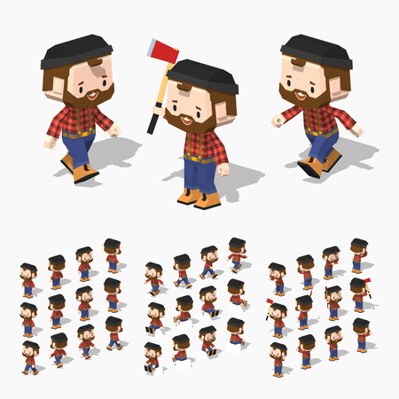 brown shirt: Low poly lumberjack with white skin, brown hair, mustache and beard. In the red shirt, blue jeans and orange boots. Illustration