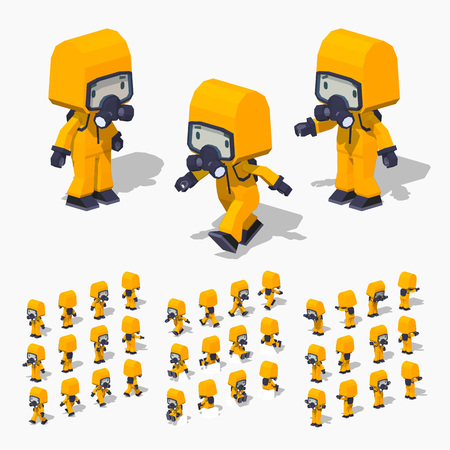 hazmat: Low poly man in the orange protective suit. 3D lowpoly isometric vector illustration.