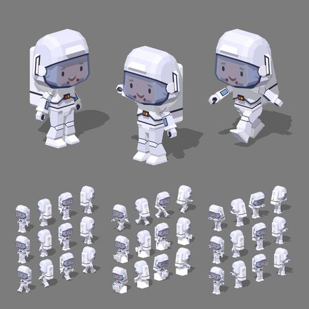 science and technology: Low poly astronaut. 3D lowpoly isometric vector illustration.