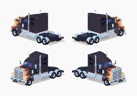 trucker: Black heavy american truck with the fire pattern. 3D lowpoly isometric vector illustration. The set of objects isolated against the white background and shown from different sides