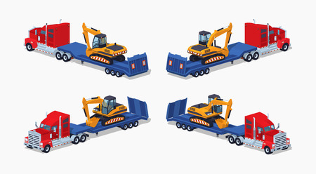heavy set: Red heavy truck with yellow excavator on the blue low-bed trailer. 3D lowpoly isometric vector illustration. The set of objects isolated against the white background and shown from different sides