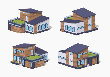 patio furniture: Contemporary american house. 3D lowpoly isometric vector illustration. The set of objects isolated against the white background and shown from different sides Illustration