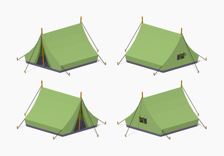 tarpaulin: Camping tents. 3D lowpoly isometric vector illustration. The set of objects isolated against the white background and shown from different sides