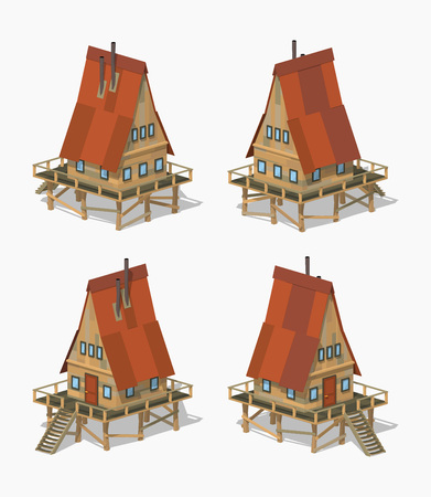 country house: A-Frame wooden house. 3D lowpoly isometric vector illustration. The set of objects isolated against the white background and shown from different sides