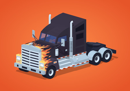 big cartoon: Black heavy american truck with the fire pattern against the red background. 3D lowpoly isometric vector illustration