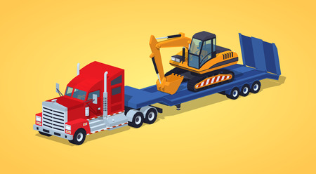 hauling: Red heavy truck with yellow excavator on the blue low-bed trailer against the yellow background. 3D lowpoly isometric vector illustration