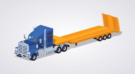 heavy: Blue heavy truck with yellow low-bed trailer against the white background. 3D lowpoly isometric vector illustration Illustration