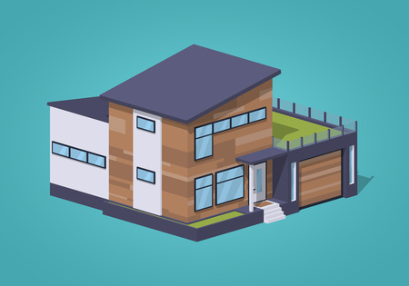 Contemporary american house against the blue background. 3D lowpoly isometric vector illustration