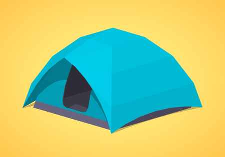 Sky-blue camping tents against the yellow background. 3D lowpoly isometric vector illustration
