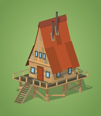A-Frame wooden house against the green background. 3D lowpoly isometric vector illustration Illustration