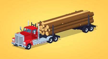 Connectez-camion avec la pile de journaux sur le fond jaune. isométrique illustration vectorielle 3D Vecteurs
