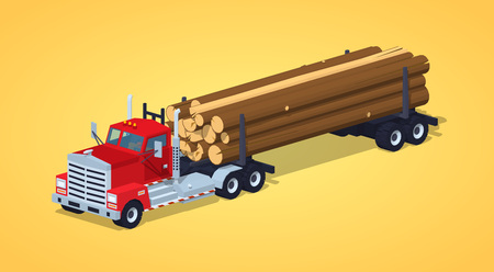 log on: Log truck with the pile of logs against the yellow background. 3D lowpoly isometric vector illustration