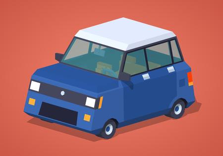 hatchback: Modern blue hatchback against the red background. 3D lowpoly isometric vector illustration