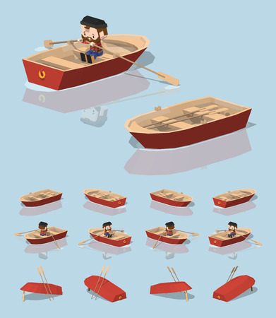 punt: Low poly red punt boat. 3D lowpoly isometric vector illustration. The set of objects isolated against the light-blue background and shown from different sides