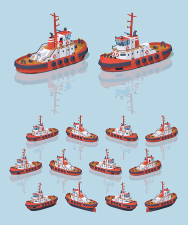 harbor: Low poly red and white tugboat. 3D lowpoly isometric vector illustration. The set of objects isolated against the light-blue background and shown from different sides Illustration