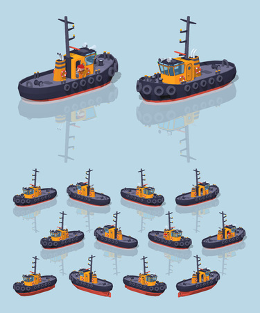 Low poly orange and black tugboat. 3D lowpoly isometric vector illustration. The set of objects isolated against the light-blue background and shown from different sides
