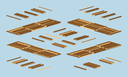 softwood: Timber floating on water. 3D lowpoly isometric vector illustration. The set of objects isolated against the light-blue background and shown from different sides