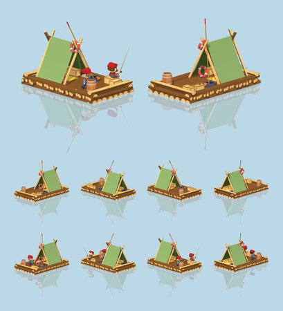 rafter: Low poly wooden raft. 3D lowpoly isometric vector illustration. The set of objects isolated against the light-blue background and shown from different sides