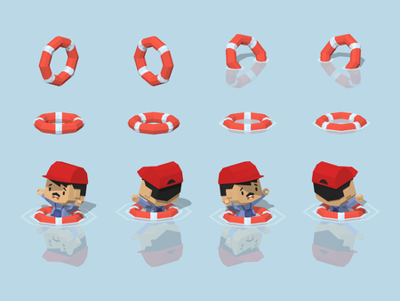 reflection of life: Low poly lifebuoy. 3D lowpoly isometric vector illustration. The set of objects isolated against the light-blue background and shown from different sides Illustration