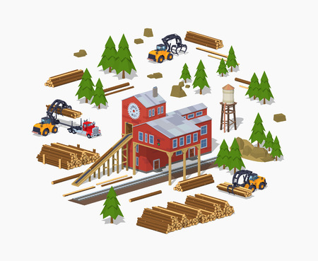 Lumber mill. Sawmill building. 3D lowpoly isometric vector concept illustration Ilustração