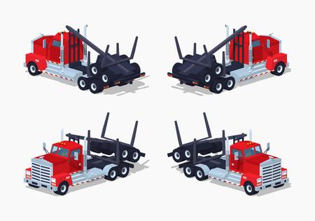 logging: Folded log truck. 3D low poly isometric vector illustration.
