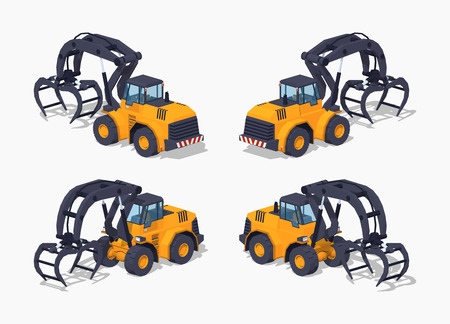 logging: Yellow log loader. 3D lowpoly isometric vector illustration. The set of objects isolated against the white background and shown from different sides